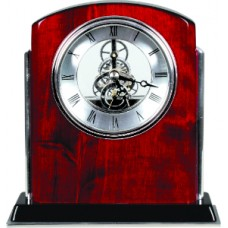 T503 Rosewood/Silver Piano Finish Clock
